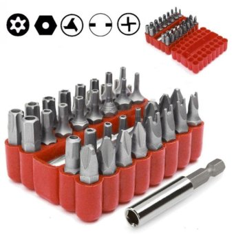 "Security Tamper Proof Bit Set 33pcs Hole Torq Torx Hex Star SpannerTri Wing Electric Star Screwdriver Hex Bit Set 1/4"" 6.35mm MagneticHolder Rod by BAYM - intl"