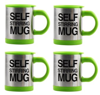 Self Stirring Coffee Mug Gift Set of 4 (Green)