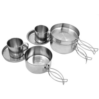 Set 8pcs Outdoor Backpacking Stainless Steel Cookware Cooking PotPan Plate for Camping Hiking Picnic - intl