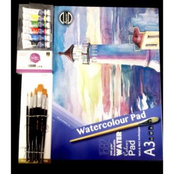 Set No.40 Artist Painting Set Brush Colour and Pad Size A3