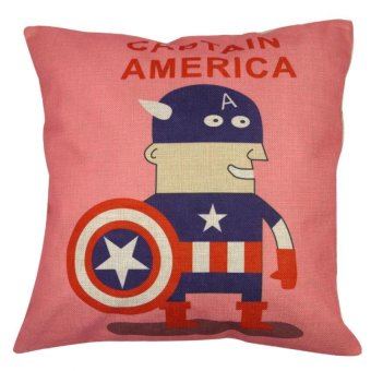 Set of 2 Cotton Linen Canvas Home Decorative Pillow Case Throw Pillow Cushion Cover 17 x 17 inches Captain America - picture 2