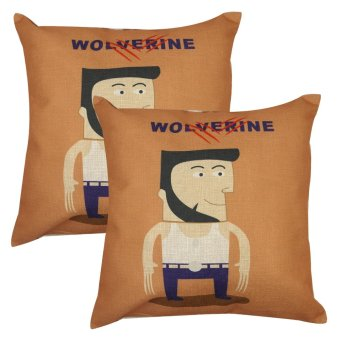Set of 2 Cotton Linen Canvas Home Decorative Pillow Case ThrowPillow Cushion Cover 17 x 17 inches Wolverine