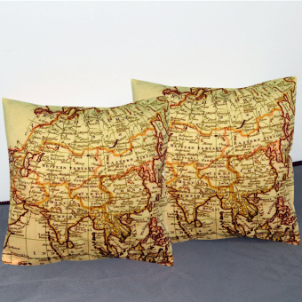 Set of 2 Decorative Square Throw Pillow Case 40x40cm Cotton FabricPillow Asia Map Price Philippines