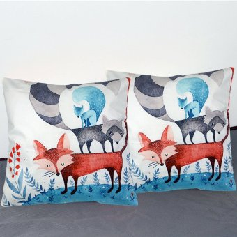 Set of 2 Decorative Square Throw Pillow Case 40x40cm Cotton FabricPillow Case-Wolf