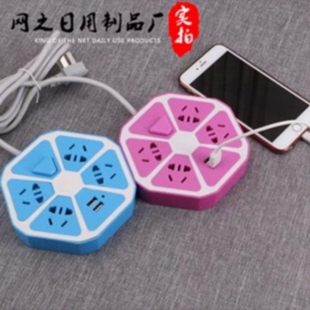 SET OF 2 Fengsheng Power Sockets 2 x USB Ports 4 x Power PortsMultifunction Extension Power Sockets Protector Fruit Shape (ColorMay Vary)