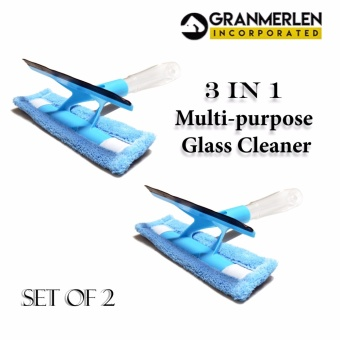 Set of 2 Window Glass Cleaner Wiper Scraper Brush Cleaning Toolswith Cloth Pad