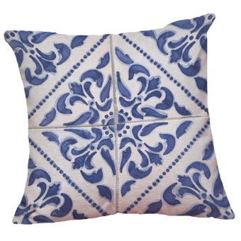 Set of 5 Chinese Style Blue and White Pattern Decorative ChenilleSquare Throw Pillow Cases Sofa Cushion Covers (18*18inch) - intl - 2