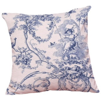 Set of 5 Chinese Style Blue and White Pattern Decorative ChenilleSquare Throw Pillow Cases Sofa Cushion Covers (18*18inch) - intl - 4