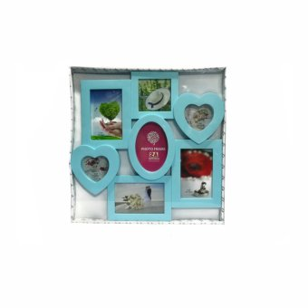 Seven Frame With Heart and Oval Design Collage Picture Frame (Blue)