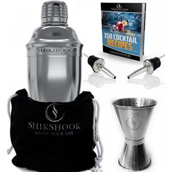 SHIKSHOOK Cocktail Shaker 25oz & Double Jigger 1oz 2oz & 2 Liquor Pourers - Professional Bartender Kit in a Accessories Bag and E- Book: 150 Recipes - Martini Drink Mixer Barware Tools Supplies