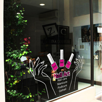 Shishang beauty manicure shop window stickers wall stickers