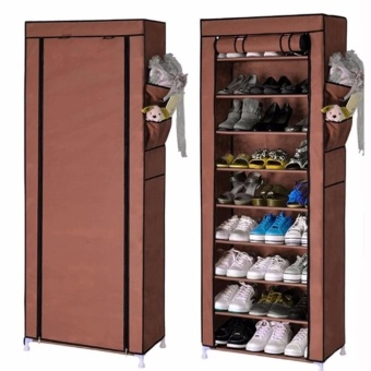 Shoe Rack Shelf Storage Closet Organizer Cabinet Portable 10 Layer(Brown)