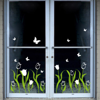 Shop window Glass Decorative wall paper wall stickers