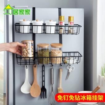 Side wall hangers storage rack double layer refrigerator rack