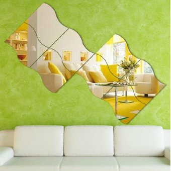 Silver 6 Pcs Modern Wave Design Stereoscopic Mirror Style Wall Sticker - intl