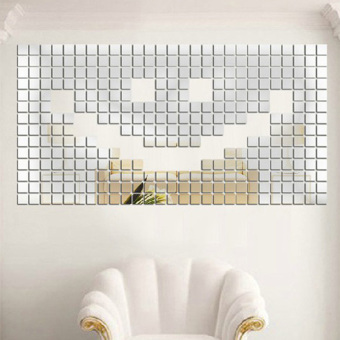 Silver Wall Sticker Mosaic Mirror Effect Home Decor - picture 2