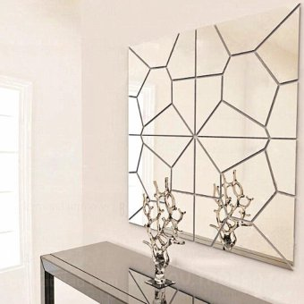 Silvery Mirror Moire Pattern Wall Sticker Home Room Decor Art MuralDIY - intl - 4