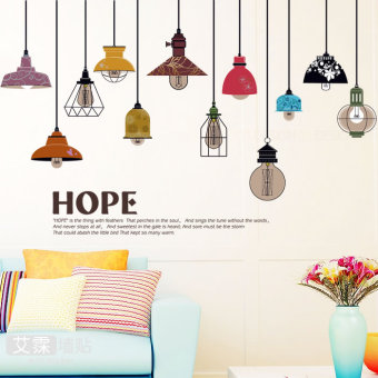 Simple multi-color wall stickers living room hanging lights