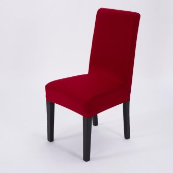 Simple Plain Elastic Dining Chair Cover - 5