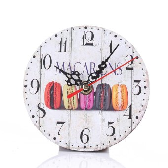 Simple Wood Retro Number Round Wall Clock For Living Room Bedroomstyle:6 - intl