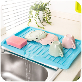 Sink Drain and Plastic Filter Plate Storage Rack Drain BoardKitchen Shelving Kitchen Organizer Shelf - Blue - intl