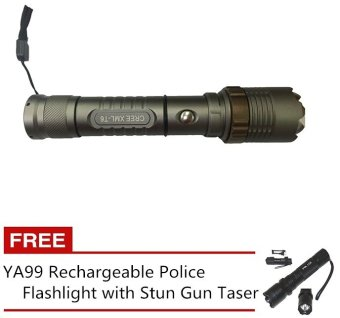SKY-Z10 30000W GREE LED Ultra Bright Rechargeable Flashlight(Black) with FREE YA99 Rechargeable Police Flashlight with Stun GunTaser