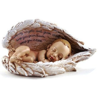Sleeping Baby in Angel Wings Religious Item (Made of Fiberglass Resin) by Everything About Santa (Christmas decoration and gift suggestion)