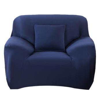 Slipcover Stretchable Pure Color Sofa Cushion Cover (Chair NavyBlue) - intl
