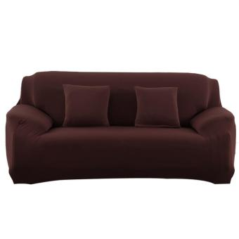 Slipcover Stretchable Pure Color Sofa Cushion Cover (Loveseat Coffee) - intl