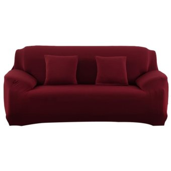 Slipcover Stretchable Pure Color Sofa Cushion Cover (Wine Red)   Intl