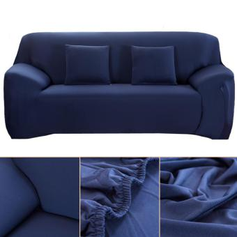 Slipcover Stretchable Pure Color Sofa Cushion Covers (Loveseat Navy Blue) - intl - 3