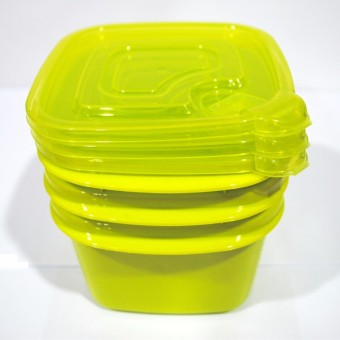 Slique Easy Stack Square Food Container 3pc Set 500ml Green