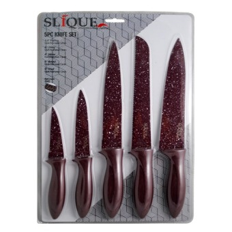 Slique Kitchen Knife Set 5pc (Maroon)