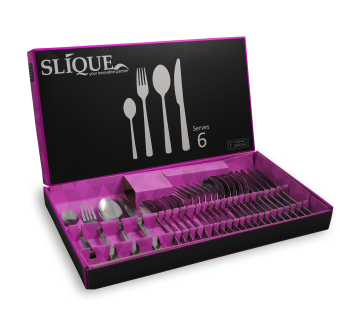 Slique SLQ-0703-24-PU 24pc Cutlery Set-Purple