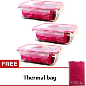 Slique SLQ-LK2821-PK Set of 3 Rectangular Glass Food Container830ml-Pink with Free Thermal Bag