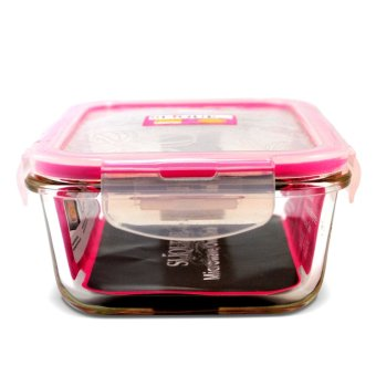 Slique SLQ-LK2821-PK Set of 3 Rectangular Glass Food Container830ml-Pink with Free Thermal Bag - 4