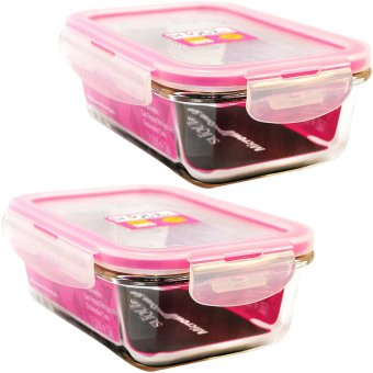 Slique SLQ-LK2822-PK Set of 2 Rectangular Glass Food Container550ml-Pink