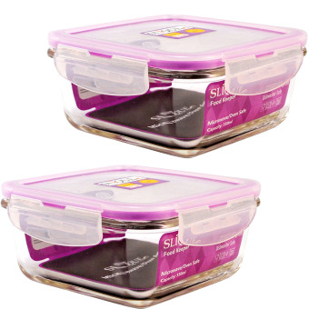 Slique SLQ-LK2826-PU-S2 Set of 2 Square Glass Food Container550ml-Purple