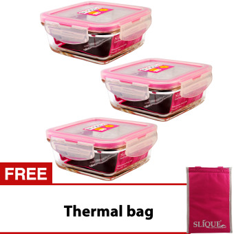 Slique SLQ-LK2827-PK Set of 3 Square Glass Food Container360ml-Pink with Free Thermal Bag