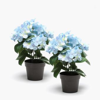 SM Home Blue Hydrangea Plastic Plant (Set of 2)