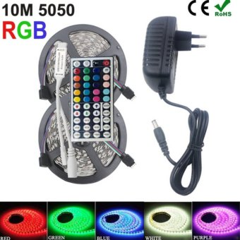 SMD RGB LED Strip Light 5050 10M None Waterproof LED Light Rgb LedsTape Diode Led Ribbon Flexible Mini IR Controller Dc 12V AdapterSet - intl