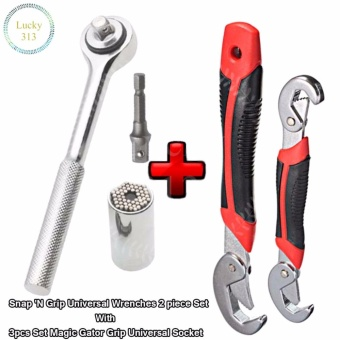 Snap 'N Grip Universal Wrenches 2 piece Set With 3pcs Set MagicGator Grip Universal Socket
