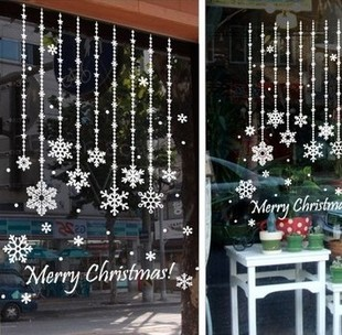 Snow Christmas curtain glass adhesive paper wall stickers