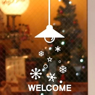 Snow Christmas wall sticker chandelier glass adhesive paper
