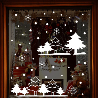 Snow-Christmas window glass wall adhesive paper
