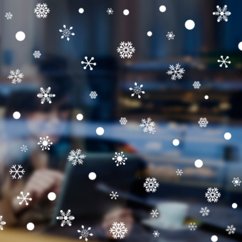 Snow New Year holiday window paper Christmas wall sticker