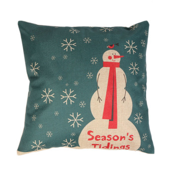 Snowman Snowflake Christmas linen pillow cover material for home, pillow to protect the car (Intl) - picture 2