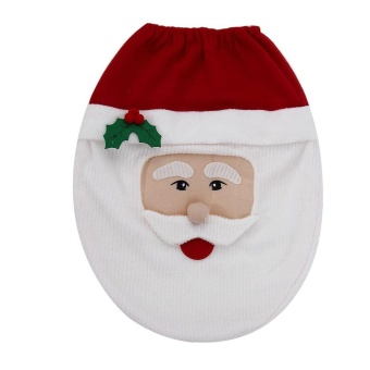 Snowman Toilet Seat Cover and Rug Bathroom Set Christmas Decoration- intl
