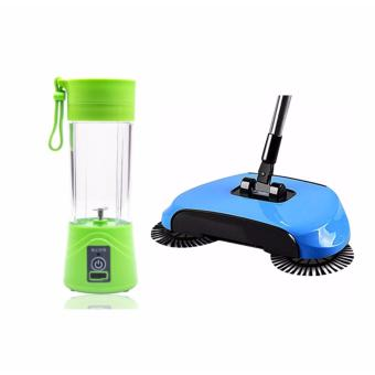 SNS 360 Rotary Home Use Magic Manual Telescopic Floor Dust Sweeper (Blue) with Rechargeable USB Electric Fruit and Vegetable Blender Cup Juicer Extractor 380mL (Green)