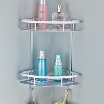 SNS Dual Tier Wall Mounted Aluminum Triangle Shape Bathroom Accessories Organizer (Silver)